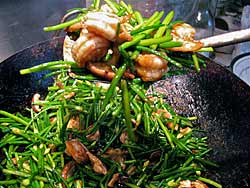 Garlic Chives in Wok