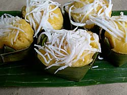 Steamed Pumpkin Cakes in Banana Leaf Cups