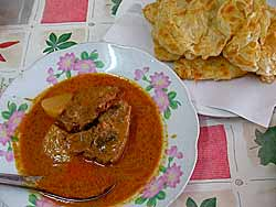 Beef curry and roti